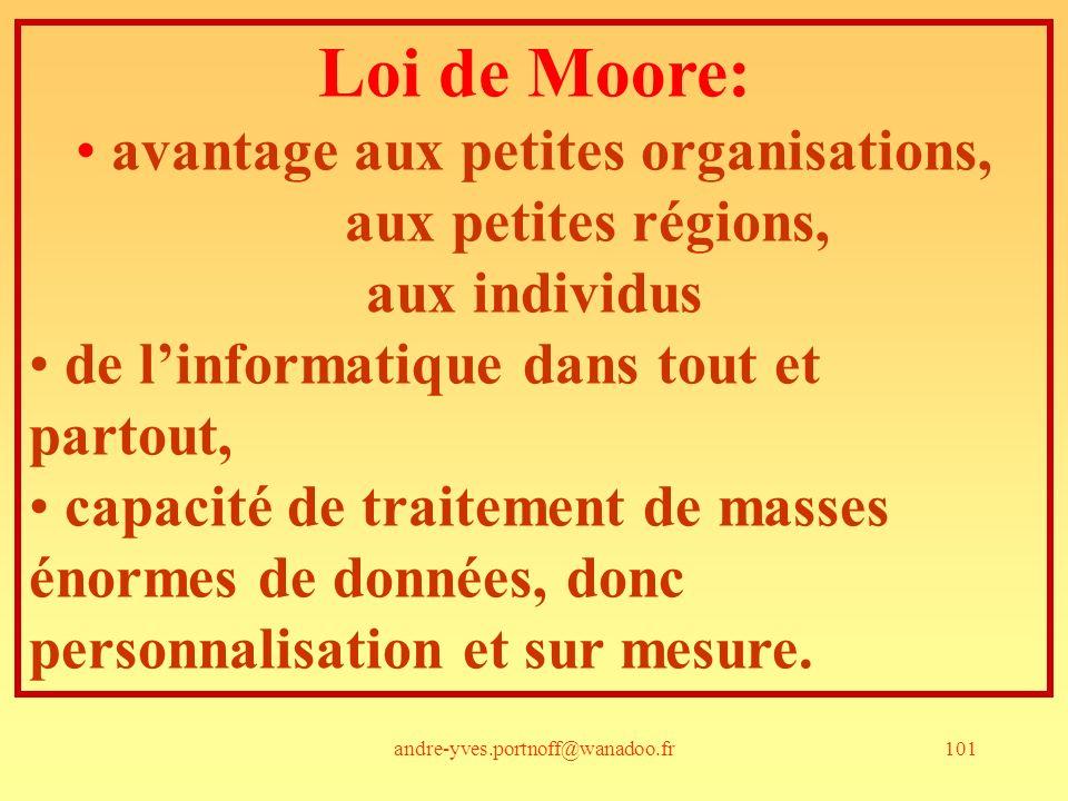 andre-yves.portnoff@wanadoo.fr101 Loi de Moore: avantage aux petites organisations, aux petites régions, aux individus de linformatique dans tout et partout, capacité de traitement de masses énormes de données, donc personnalisation et sur mesure.