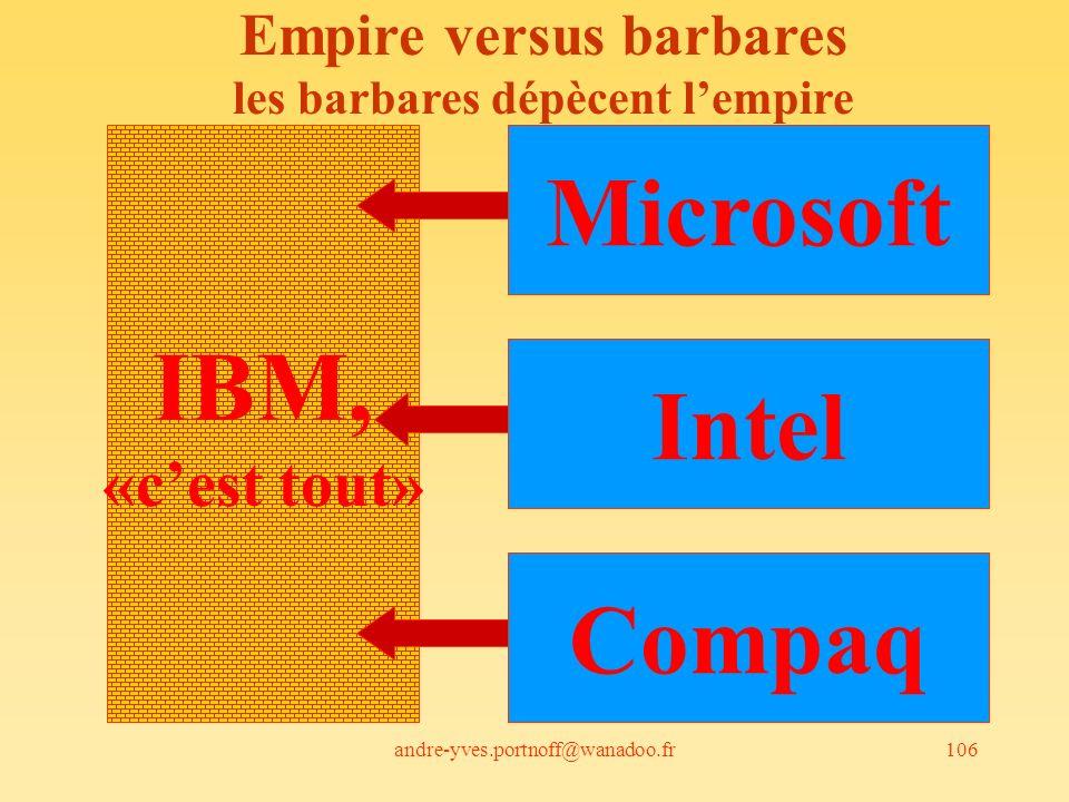 andre-yves.portnoff@wanadoo.fr106 IBM, «cest tout» Microsoft Intel Compaq Empire versus barbares les barbares dépècent lempire