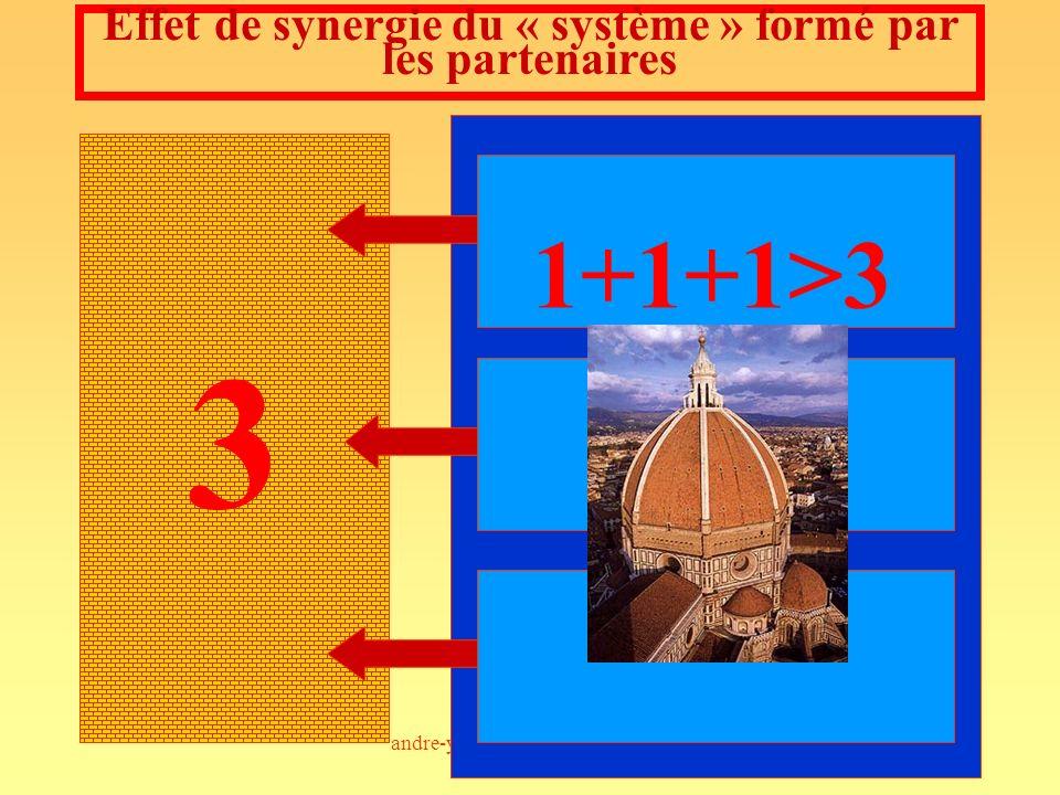 andre-yves.portnoff@wanadoo.fr107 3 Effet de synergie du « système » formé par les partenaires 1+1+1>3