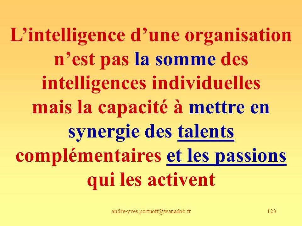 andre-yves.portnoff@wanadoo.fr123 Lintelligence dune organisation nest pas la somme des intelligences individuelles mais la capacité à mettre en synergie des talents complémentaires et les passions qui les activent