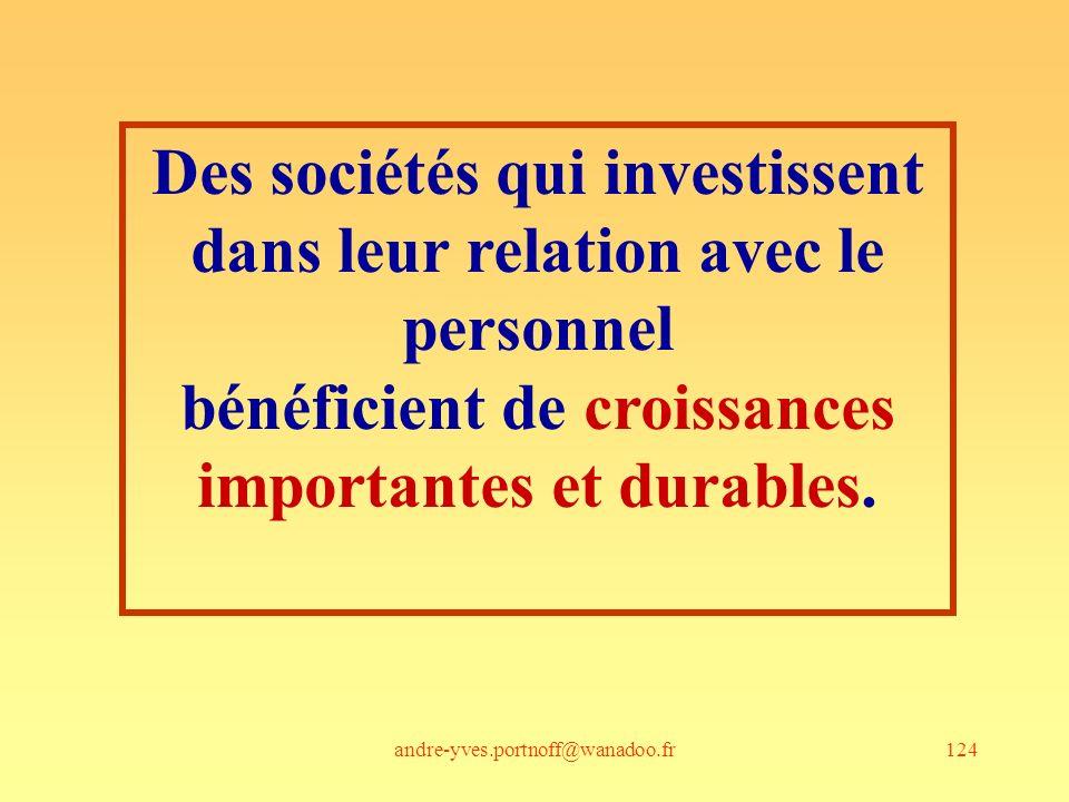 andre-yves.portnoff@wanadoo.fr124 Des sociétés qui investissent dans leur relation avec le personnel bénéficient de croissances importantes et durable