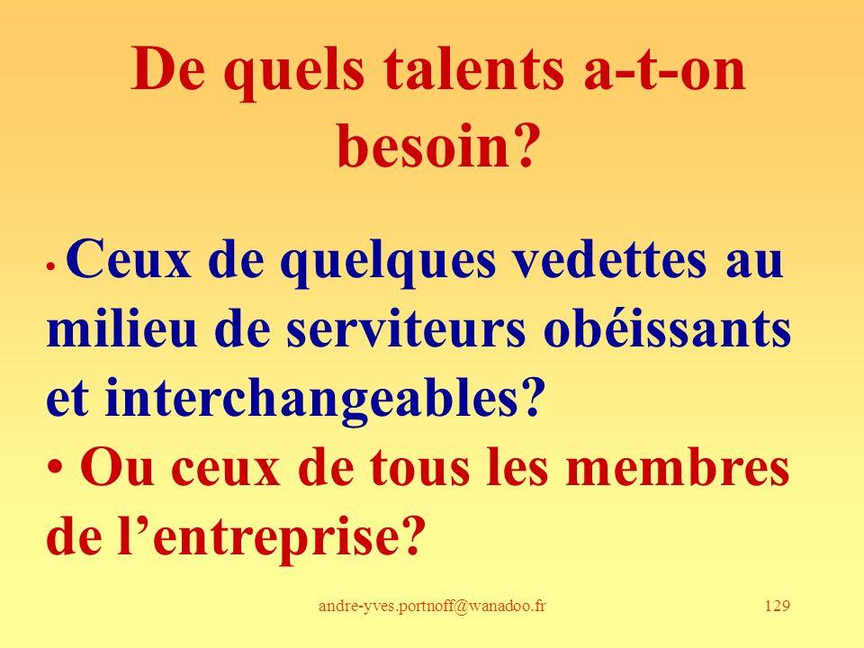 andre-yves.portnoff@wanadoo.fr129 De quels talents a-t-on besoin? Ceux de quelques vedettes au milieu de serviteurs obéissants et interchangeables? Ou