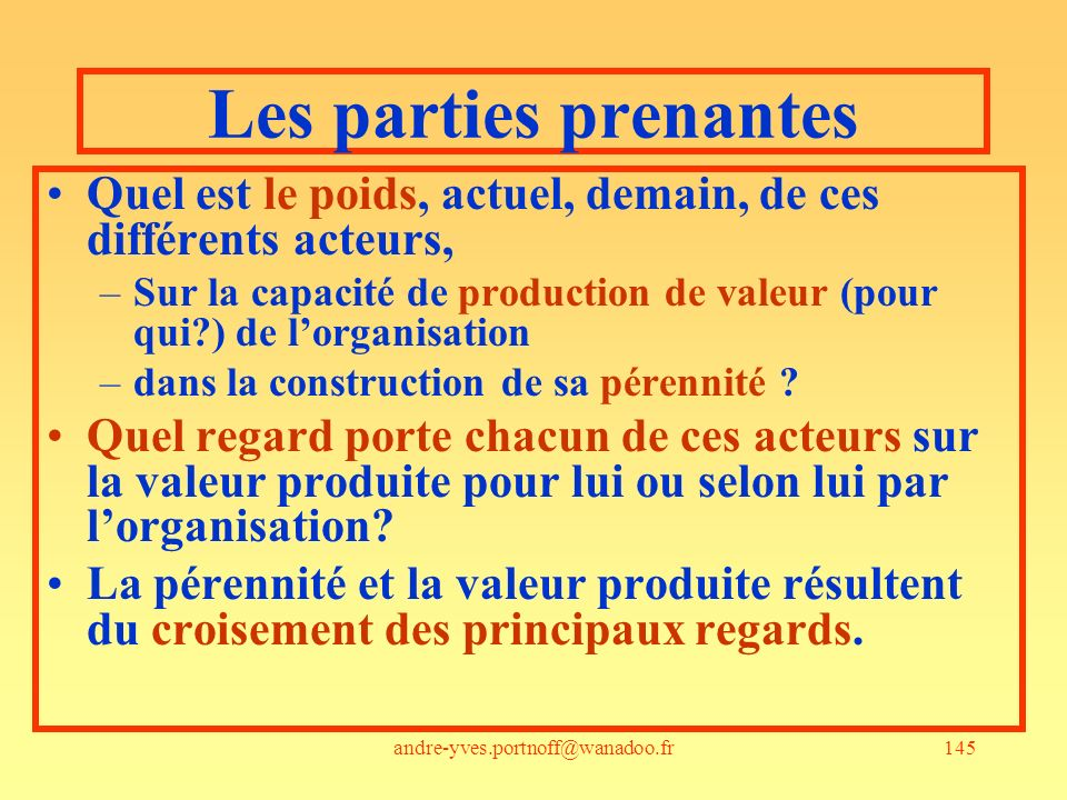 andre-yves.portnoff@wanadoo.fr145 Les parties prenantes Quel est le poids, actuel, demain, de ces différents acteurs, –Sur la capacité de production d