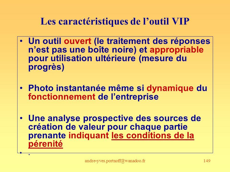 andre-yves.portnoff@wanadoo.fr149 Les caractéristiques de loutil VIP Un outil ouvert (le traitement des réponses nest pas une boîte noire) et appropri