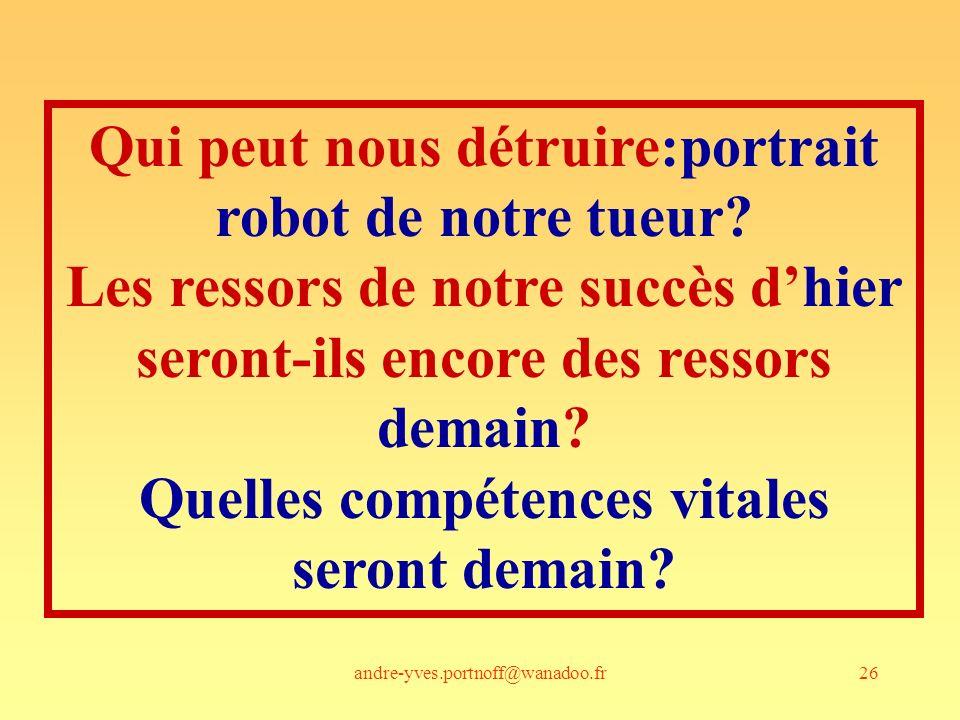 andre-yves.portnoff@wanadoo.fr26 Qui peut nous détruire:portrait robot de notre tueur? Les ressors de notre succès dhier seront-ils encore des ressors