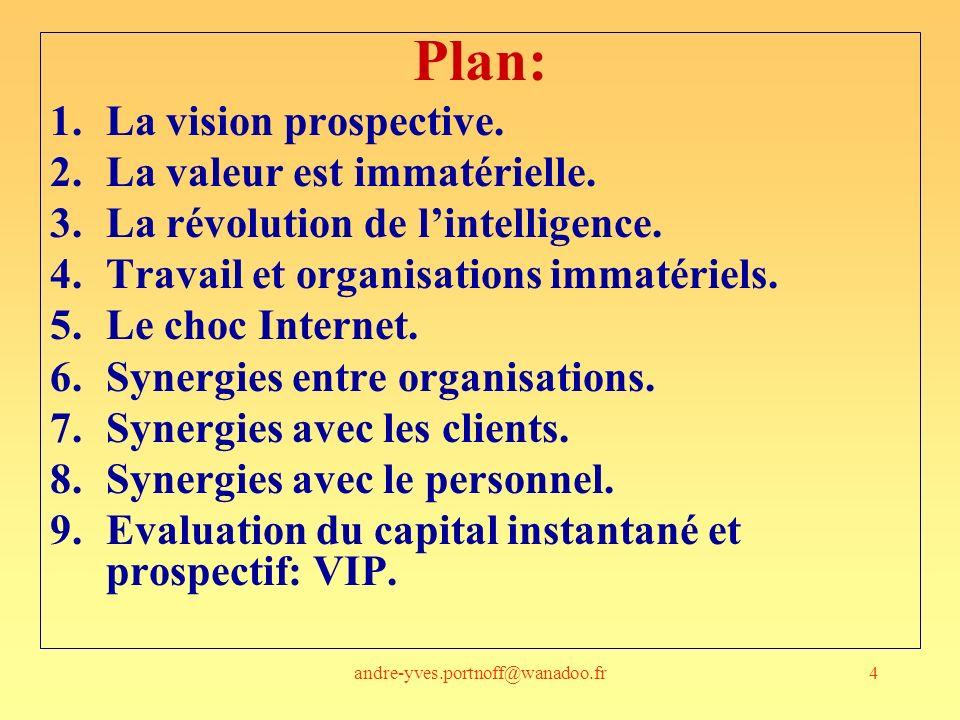 andre-yves.portnoff@wanadoo.fr145 Les parties prenantes Quel est le poids, actuel, demain, de ces différents acteurs, –Sur la capacité de production de valeur (pour qui?) de lorganisation –dans la construction de sa pérennité .