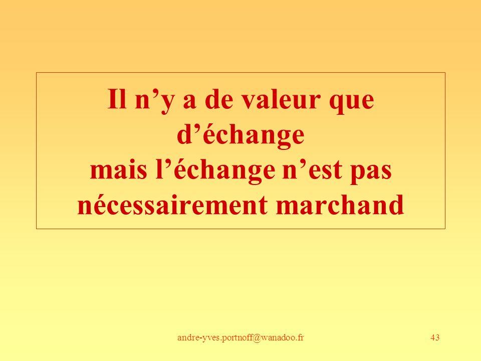 andre-yves.portnoff@wanadoo.fr43 Il ny a de valeur que déchange mais léchange nest pas nécessairement marchand
