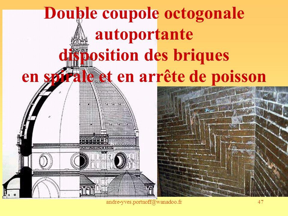 andre-yves.portnoff@wanadoo.fr47 Double coupole octogonale autoportante disposition des briques en spirale et en arrête de poisson