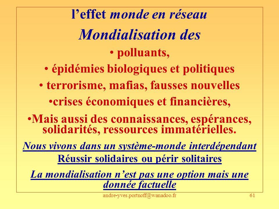 andre-yves.portnoff@wanadoo.fr61 leffet monde en réseau Mondialisation des polluants, épidémies biologiques et politiques terrorisme, mafias, fausses