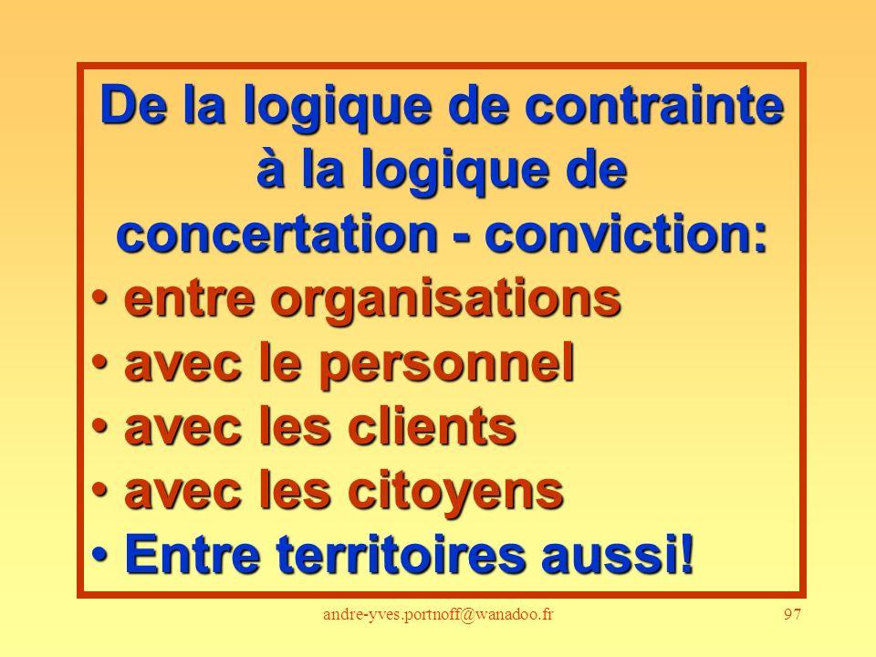 andre-yves.portnoff@wanadoo.fr97 De la logique de contrainte à la logique de concertation - conviction: entre organisations entre organisations avec l