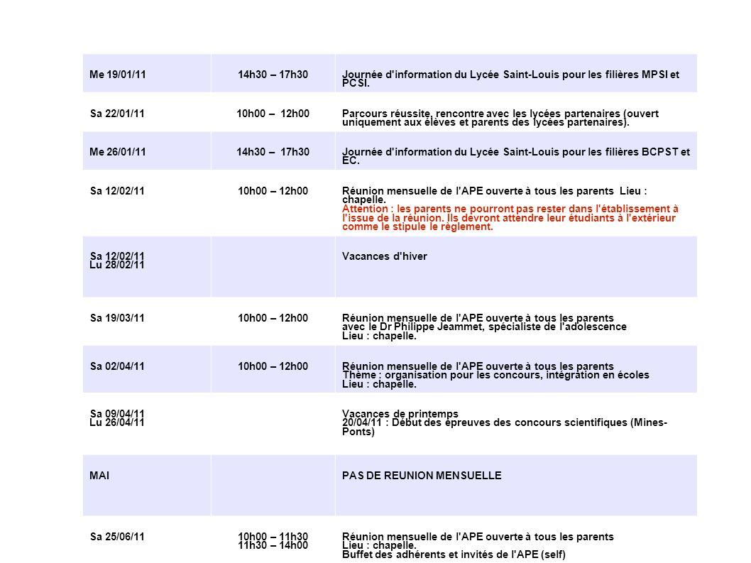 APE Saint-Louis - Samedi 8 janvier 2011 Me 19/01/1114h30 – 17h30 Journée d'information du Lycée Saint-Louis pour les filières MPSI et PCSI. Sa 22/01/1