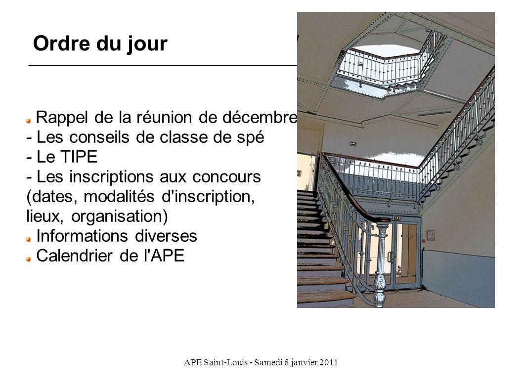APE Saint-Louis - Samedi 8 janvier 2011 Rappel de la réunion de décembre - Les conseils de classe de spé - Le TIPE - Les inscriptions aux concours (da