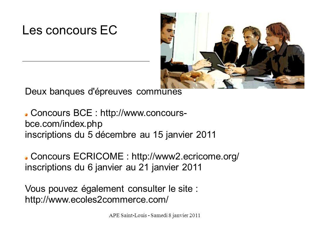 APE Saint-Louis - Samedi 8 janvier 2011 Les concours EC Deux banques d'épreuves communes Concours BCE : http://www.concours- bce.com/index.php inscrip