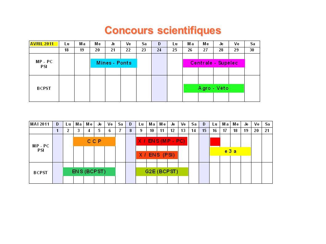 APE Saint-Louis - Samedi 8 janvier 2011 Concours scientifiques