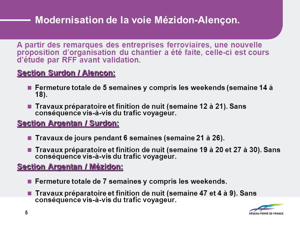 5 Modernisation de la voie Mézidon-Alençon. A partir des remarques des entreprises ferroviaires, une nouvelle proposition dorganisation du chantier a