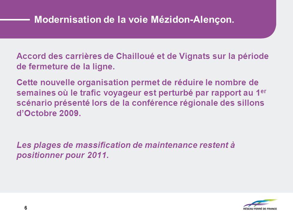 6 Modernisation de la voie Mézidon-Alençon. Accord des carrières de Chailloué et de Vignats sur la période de fermeture de la ligne. Cette nouvelle or