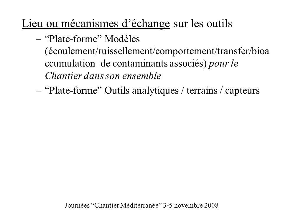 Lieu ou mécanismes déchange sur les outils –Plate-forme Modèles (écoulement/ruissellement/comportement/transfer/bioa ccumulation de contaminants assoc