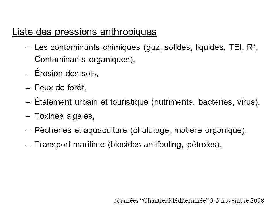 Liste des pressions anthropiques –Les contaminants chimiques (gaz, solides, liquides, TEI, R*, Contaminants organiques), –Érosion des sols, –Feux de f