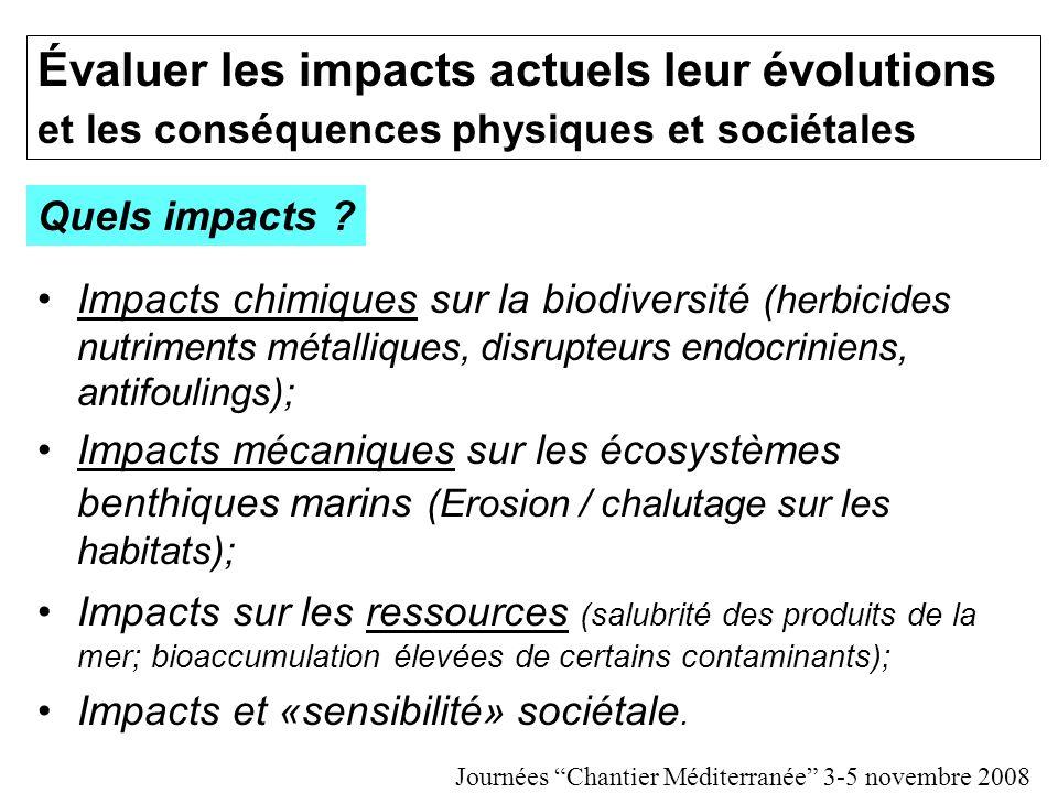 Évaluer les impacts actuels leur évolutions et les conséquences physiques et sociétales Impacts chimiques sur la biodiversité (herbicides nutriments métalliques, disrupteurs endocriniens, antifoulings); Impacts mécaniques sur les écosystèmes benthiques marins (Erosion / chalutage sur les habitats); Impacts sur les ressources (salubrité des produits de la mer; bioaccumulation élevées de certains contaminants); Impacts et «sensibilité» sociétale.