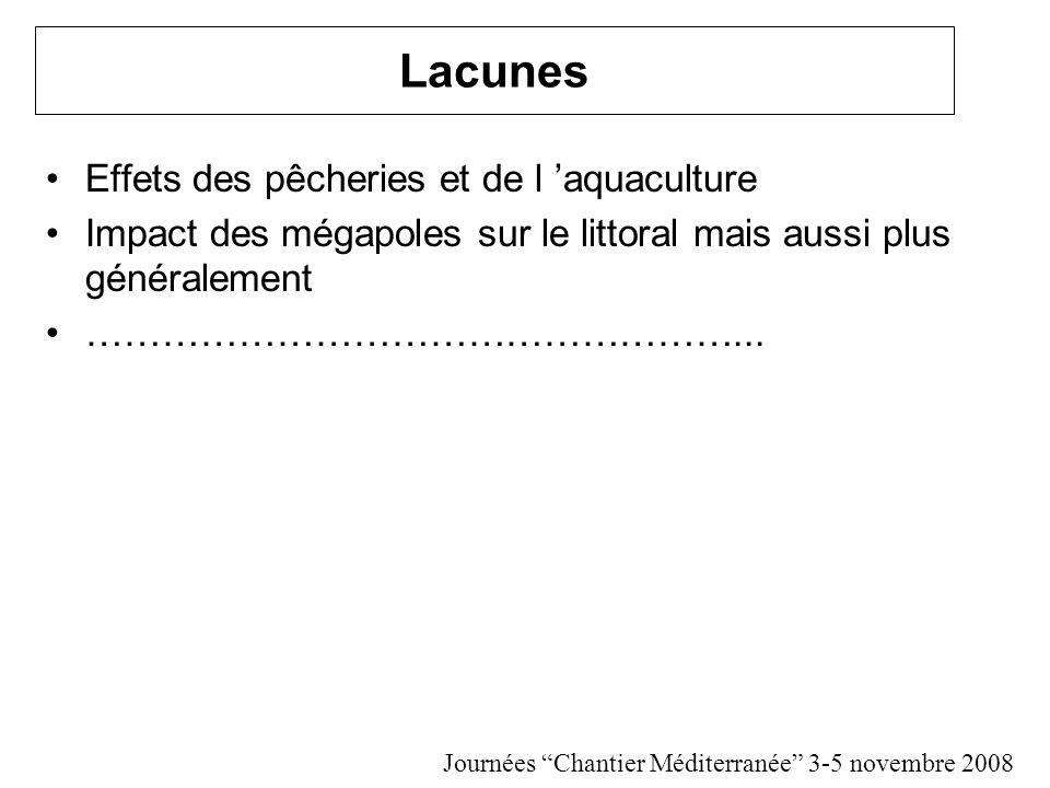 Lacunes Effets des pêcheries et de l aquaculture Impact des mégapoles sur le littoral mais aussi plus généralement ……………………………………………...