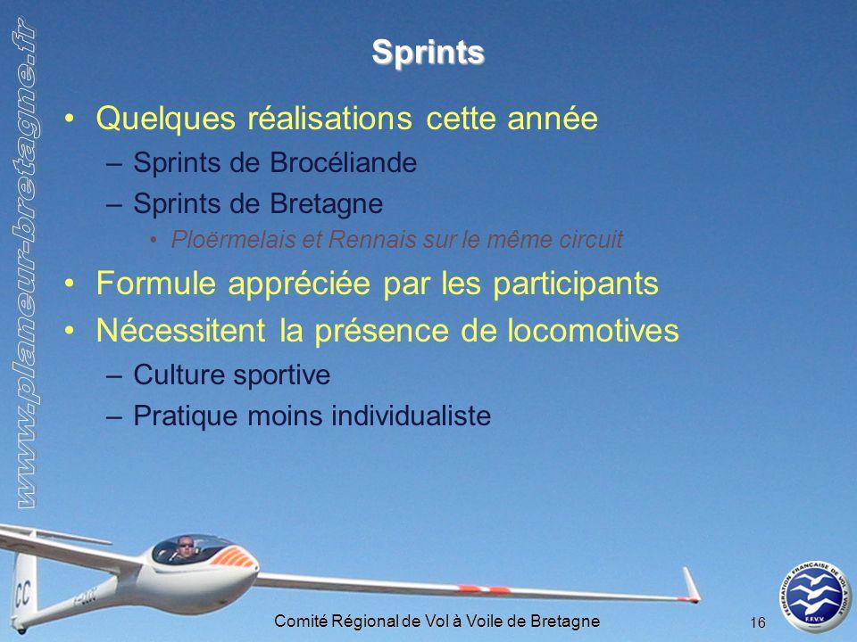 Comité Régional de Vol à Voile de Bretagne 16 Sprints Quelques réalisations cette année –Sprints de Brocéliande –Sprints de Bretagne Ploërmelais et Re