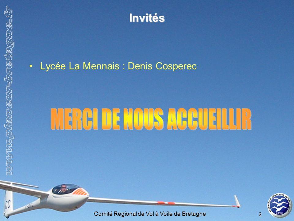 Comité Régional de Vol à Voile de Bretagne 13 Coupe fédérale – NetCoupe 2008 Classement club général : –Rennes : 18 ème /84 (+4 places) –Ploërmel : 27 ème /84 (+7 places) Classement club à lindice : –Rennes : 18 ème /84 (+7 places) –Ploërmel : 48 ème /84 (-3 places) Classements individuels –Open Ronan Le Du : 9 ème /2099 –France Jacques Bougot : 19 ème /2058 Rookies (qualif campagne depuis moins de 2 ans) : –France : 93 / Bretagne : 9 –+25 ans : France 48 / Bretagne 2 –- 25 ans : France 45 / Bretagne 7 Benjamin Vadès : 13 ème (3 ème -25 ans)