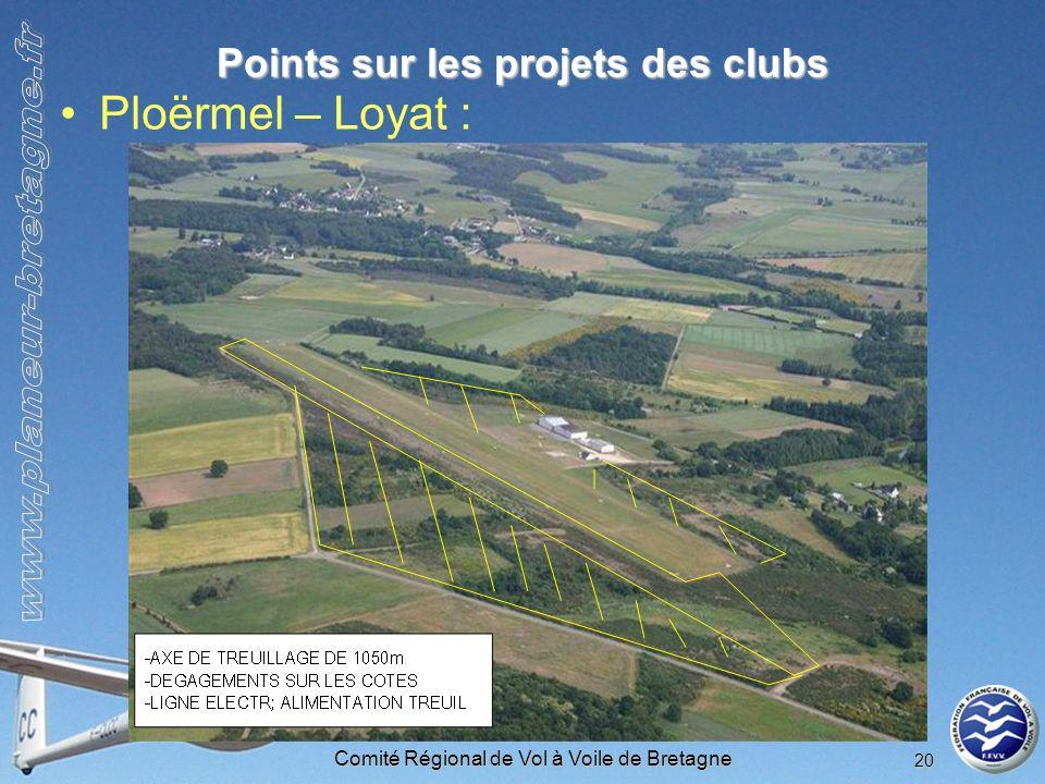 Comité Régional de Vol à Voile de Bretagne 20 Points sur les projets des clubs Ploërmel – Loyat :