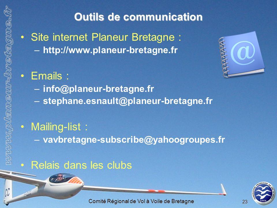 Comité Régional de Vol à Voile de Bretagne 23 Outils de communication Site internet Planeur Bretagne : –http://www.planeur-bretagne.fr Emails : –info@