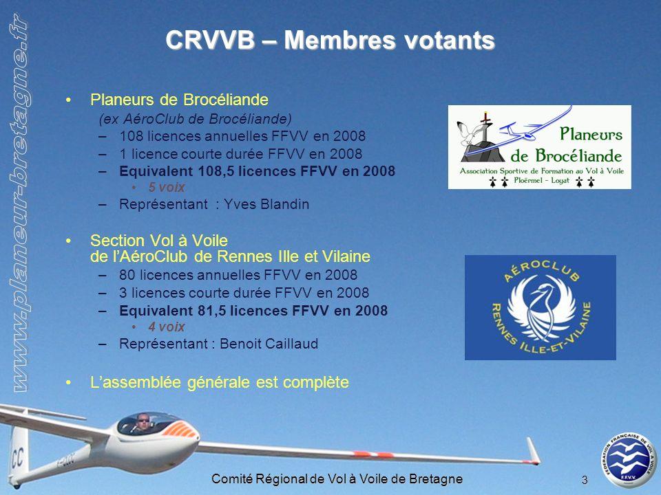 Comité Régional de Vol à Voile de Bretagne 3 CRVVB – Membres votants Planeurs de Brocéliande (ex AéroClub de Brocéliande) –108 licences annuelles FFVV