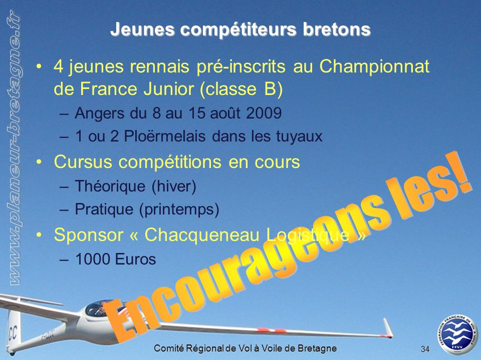 Comité Régional de Vol à Voile de Bretagne 34 Jeunes compétiteurs bretons 4 jeunes rennais pré-inscrits au Championnat de France Junior (classe B) –An