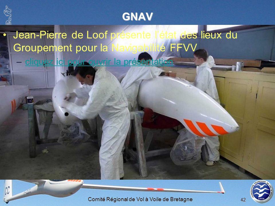 Comité Régional de Vol à Voile de Bretagne 42 GNAV Jean-Pierre de Loof présente létat des lieux du Groupement pour la Navigabilité FFVV –cliquez ici p