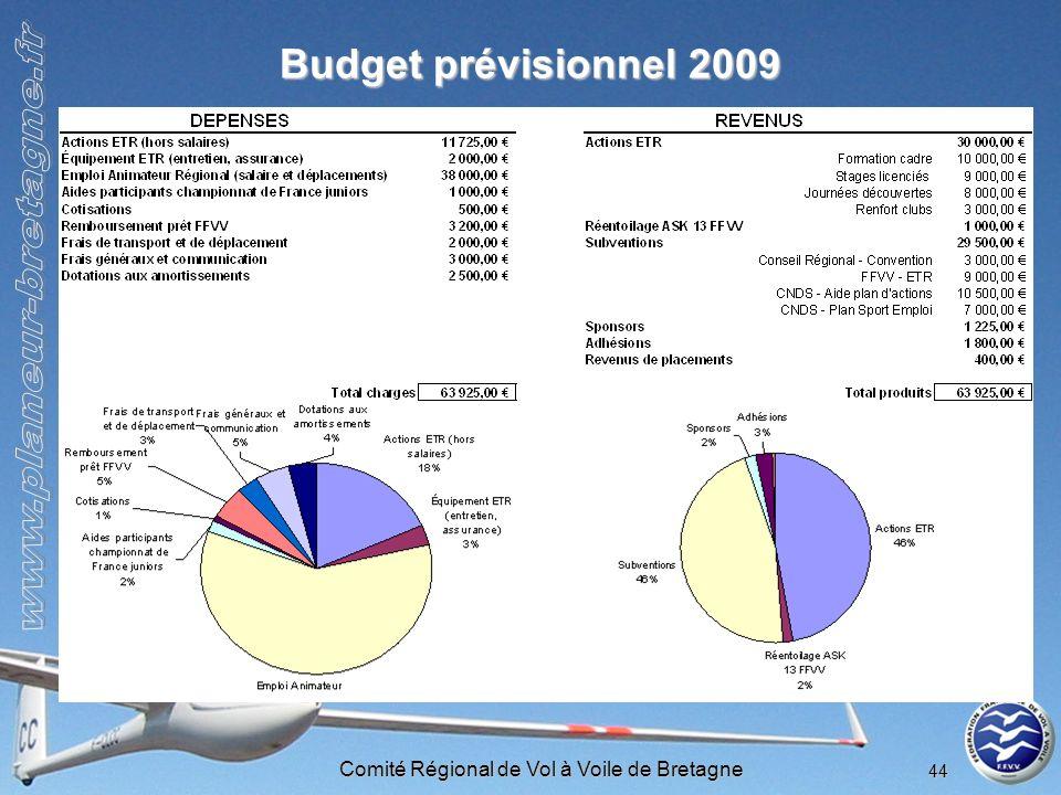 Comité Régional de Vol à Voile de Bretagne 44 Budget prévisionnel 2009