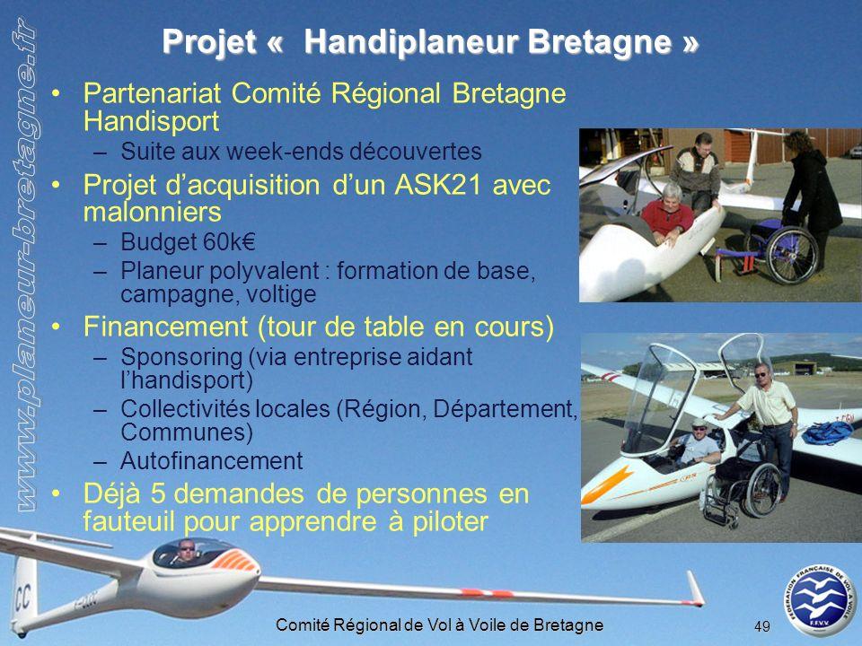 Comité Régional de Vol à Voile de Bretagne 49 Projet « Handiplaneur Bretagne » Partenariat Comité Régional Bretagne Handisport –Suite aux week-ends dé
