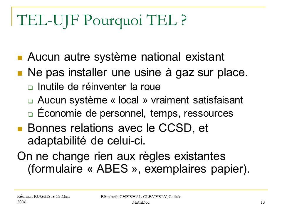 Réunion RUGBIS le 18 Mari 2006 Elizabeth CHERHAL-CLEVERLY, Cellule MathDoc 13 TEL-UJF Pourquoi TEL ? Aucun autre système national existant Ne pas inst