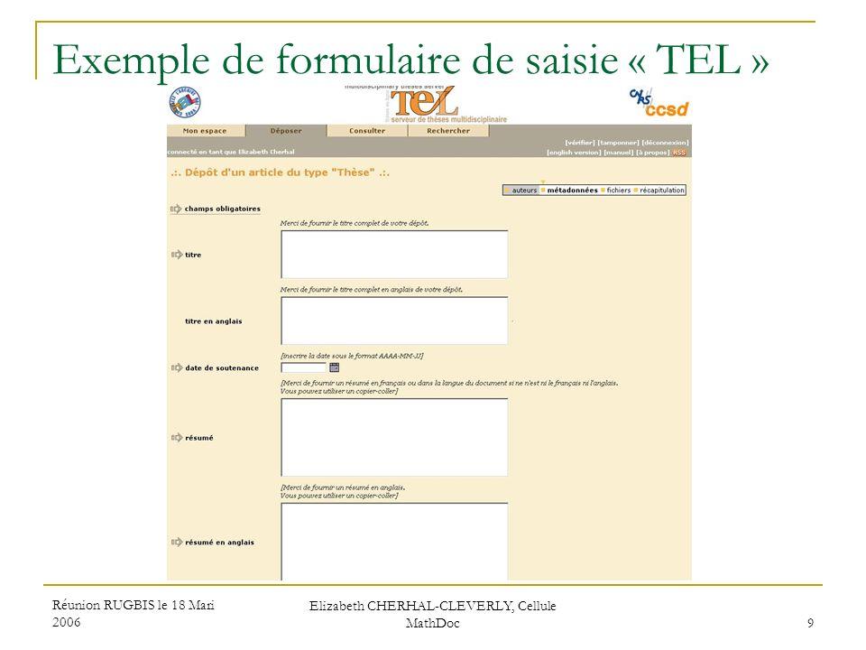 Réunion RUGBIS le 18 Mari 2006 Elizabeth CHERHAL-CLEVERLY, Cellule MathDoc 9 Exemple de formulaire de saisie « TEL »