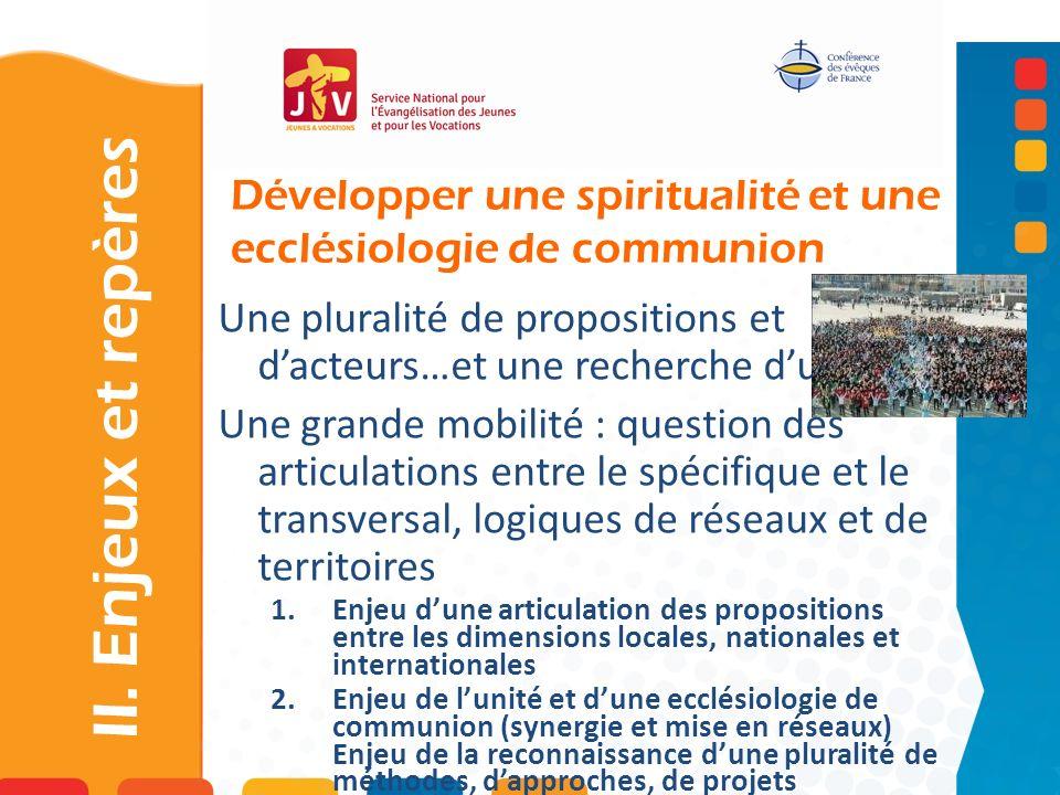 Développer une spiritualité et une ecclésiologie de communion II. Enjeux et repères Une pluralité de propositions et dacteurs…et une recherche dunité