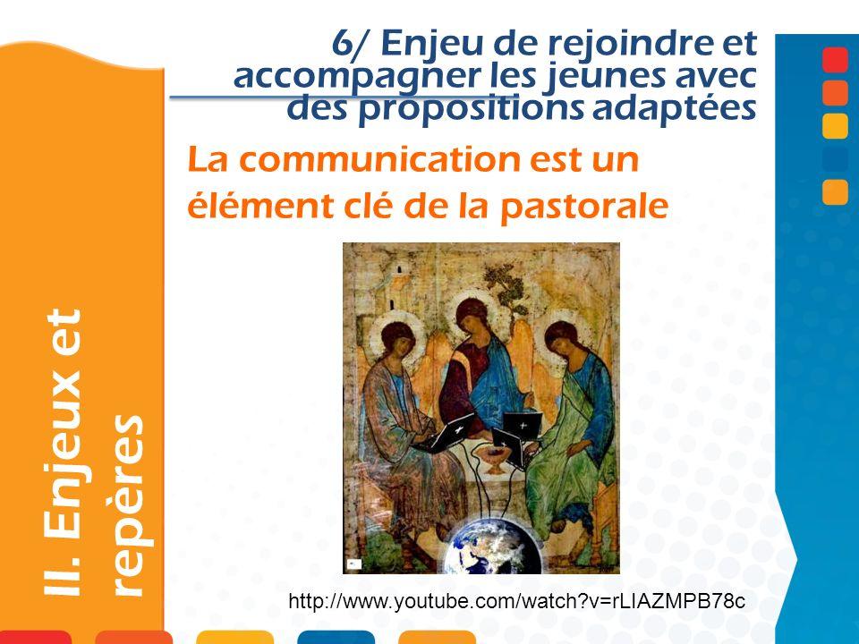 La communication est un élément clé de la pastorale II. Enjeux et repères 6/ Enjeu de rejoindre et accompagner les jeunes avec des propositions adapté
