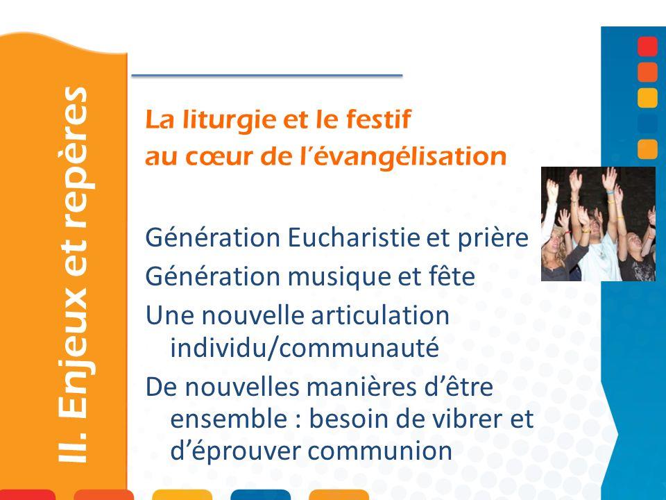 La liturgie et le festif au cœur de lévangélisation Génération Eucharistie et prière Génération musique et fête Une nouvelle articulation individu/com
