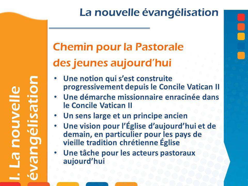 Chemin pour la Pastorale des jeunes aujourdhui I. La nouvelle évangélisation La nouvelle évangélisation Une notion qui sest construite progressivement