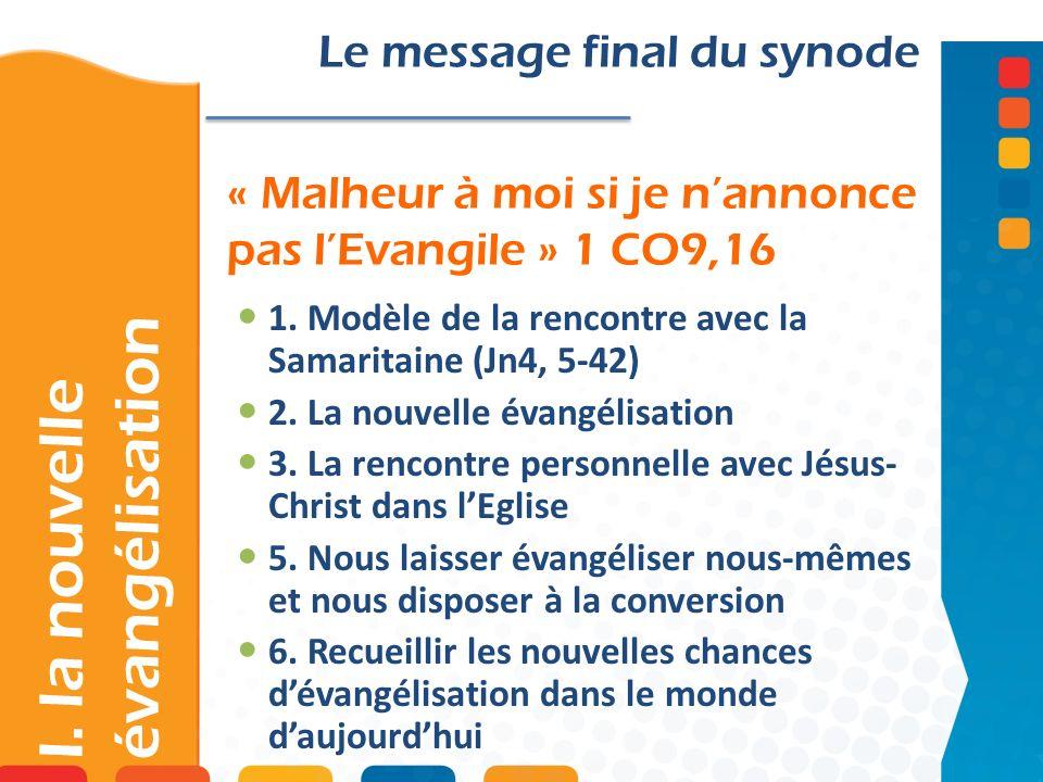 « Malheur à moi si je nannonce pas lEvangile » 1 CO9,16 Le message final du synode 1. Modèle de la rencontre avec la Samaritaine (Jn4, 5-42) 2. La nou