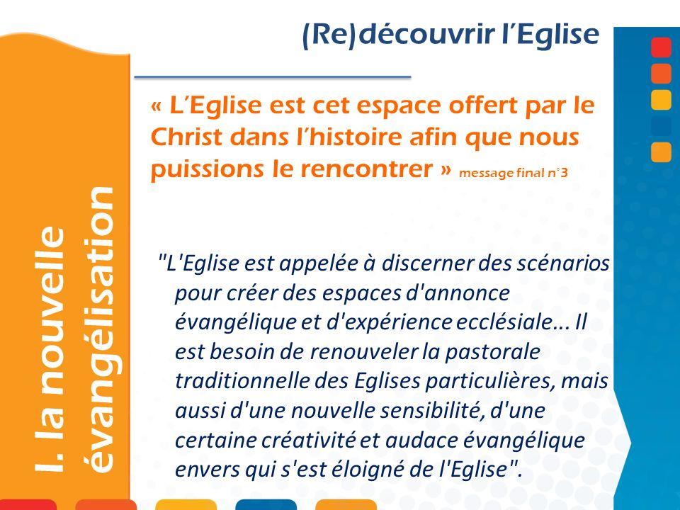 « LEglise est cet espace offert par le Christ dans lhistoire afin que nous puissions le rencontrer » message final n°3 I. la nouvelle évangélisation (