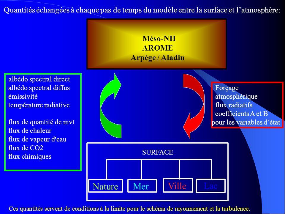 Lac Ville Mer Nature Méso-NH AROME Arpège / Aladin SURFACE Quantités échangées à chaque pas de temps du modèle entre la surface et latmosphère: Forçag