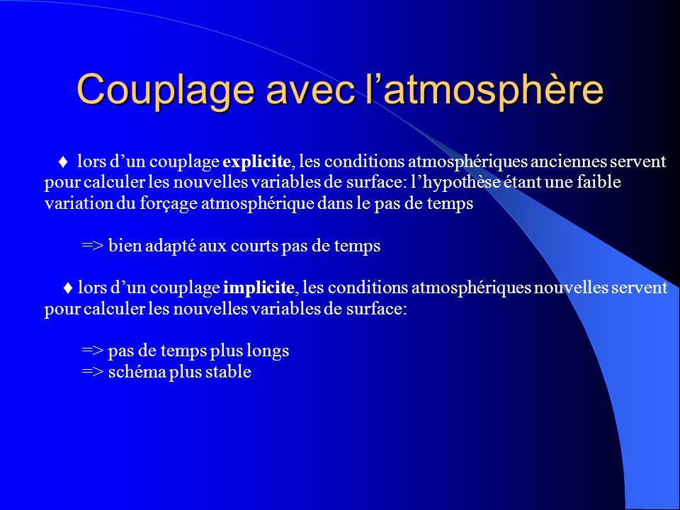 Couplage avec latmosphère lors dun couplage explicite, les conditions atmosphériques anciennes servent pour calculer les nouvelles variables de surface: lhypothèse étant une faible variation du forçage atmosphérique dans le pas de temps => bien adapté aux courts pas de temps lors dun couplage implicite, les conditions atmosphériques nouvelles servent pour calculer les nouvelles variables de surface: => pas de temps plus longs => schéma plus stable