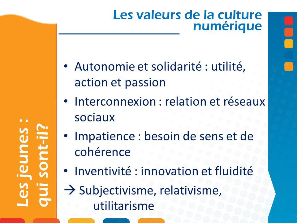 Les valeurs de la culture numérique Autonomie et solidarité : utilité, action et passion Interconnexion : relation et réseaux sociaux Impatience : bes