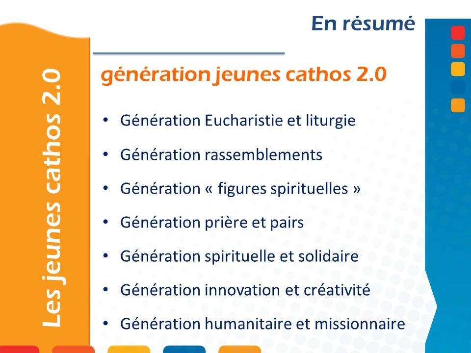 génération jeunes cathos 2.0 Les jeunes cathos 2.0 En résumé Génération Eucharistie et liturgie Génération rassemblements Génération « figures spiritu