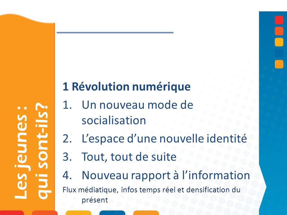 Les jeunes : qui sont-ils? 1 Révolution numérique 1.Un nouveau mode de socialisation 2.Lespace dune nouvelle identité 3.Tout, tout de suite 4.Nouveau
