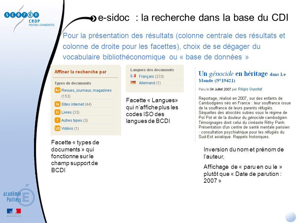 Pour la présentation des résultats (colonne centrale des résultats et colonne de droite pour les facettes), choix de se dégager du vocabulaire bibliot