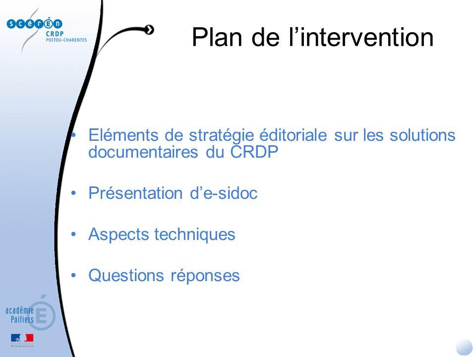 Plan de lintervention Eléments de stratégie éditoriale sur les solutions documentaires du CRDP Présentation de-sidoc Aspects techniques Questions répo