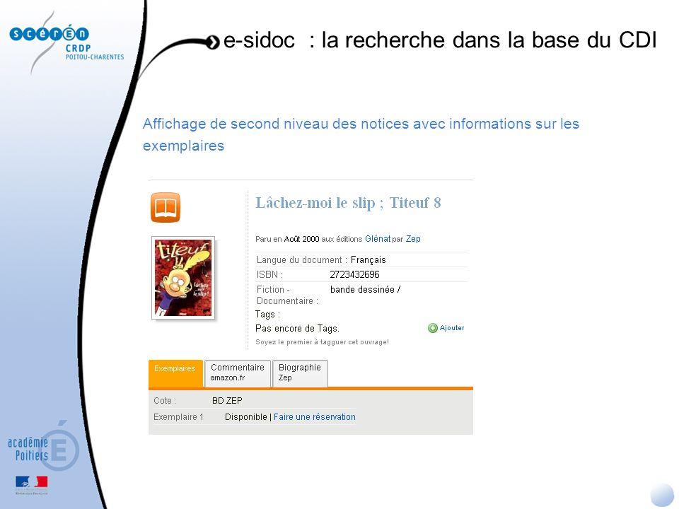 Affichage de second niveau des notices avec informations sur les exemplaires e-sidoc : la recherche dans la base du CDI