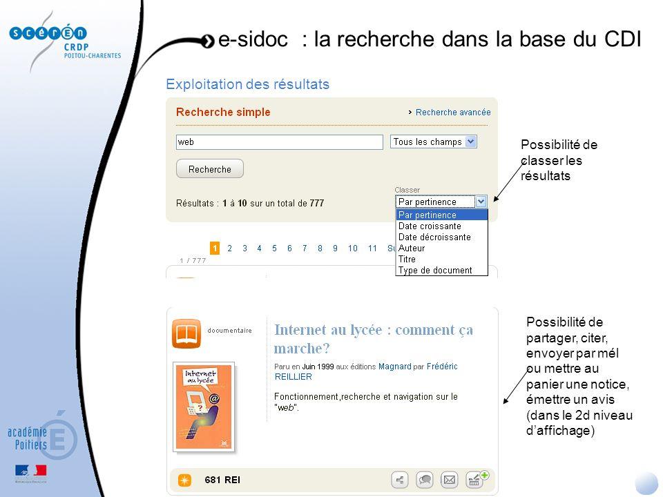 Exploitation des résultats e-sidoc : la recherche dans la base du CDI Possibilité de classer les résultats Possibilité de partager, citer, envoyer par